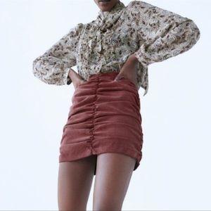 NWT Zara Draped Ruched Corduroy Mini Skirt in Marsala Large